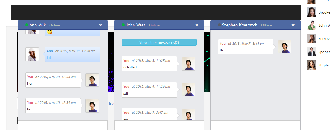 Codeigniter chat example for multiple chat