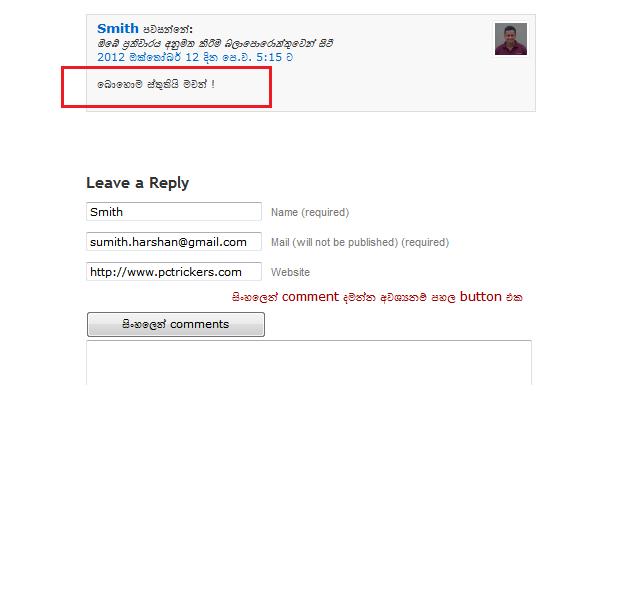 Wordpress sinhala comment plugin