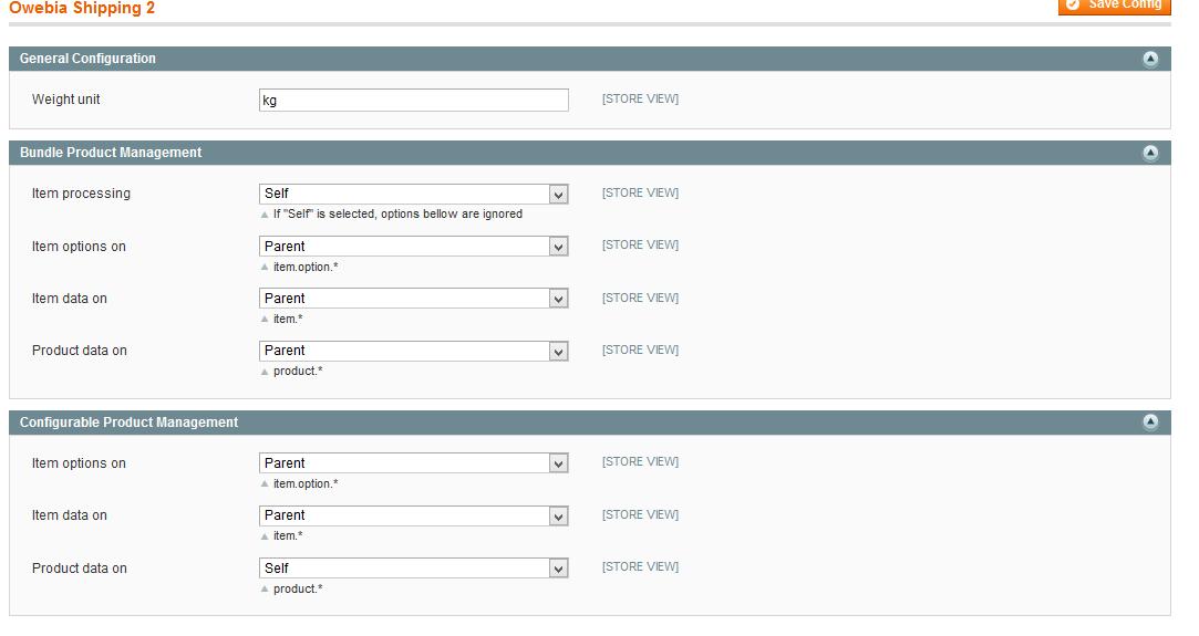 Owebia-Shipping settings