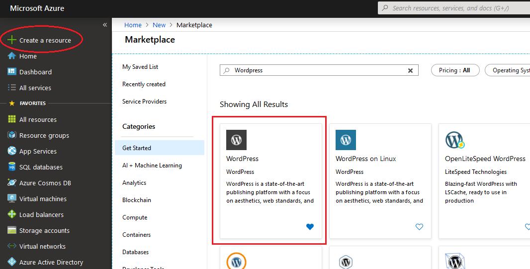Search-Wordpress-on-Azure