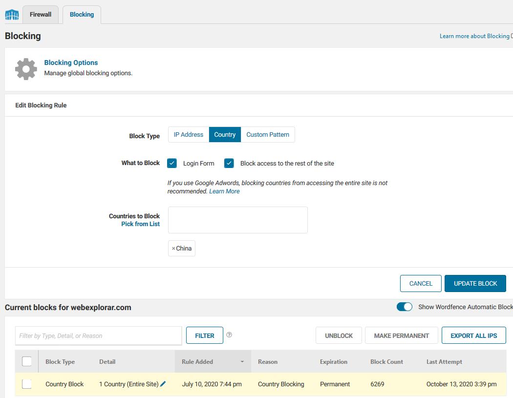 Screenshot_2020-10-13 Blocking ‹ Firewall ‹ WebExplorar com — WordPress