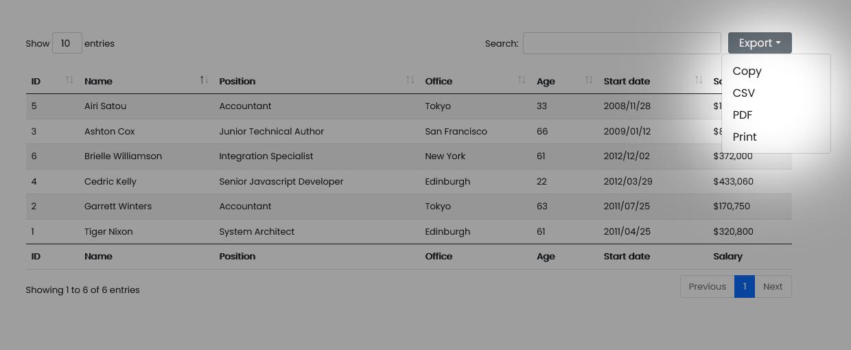 JavaScript DataTables export data Smart & Easy way